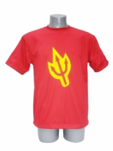 Red Cut resistant T-shirt with devils trident